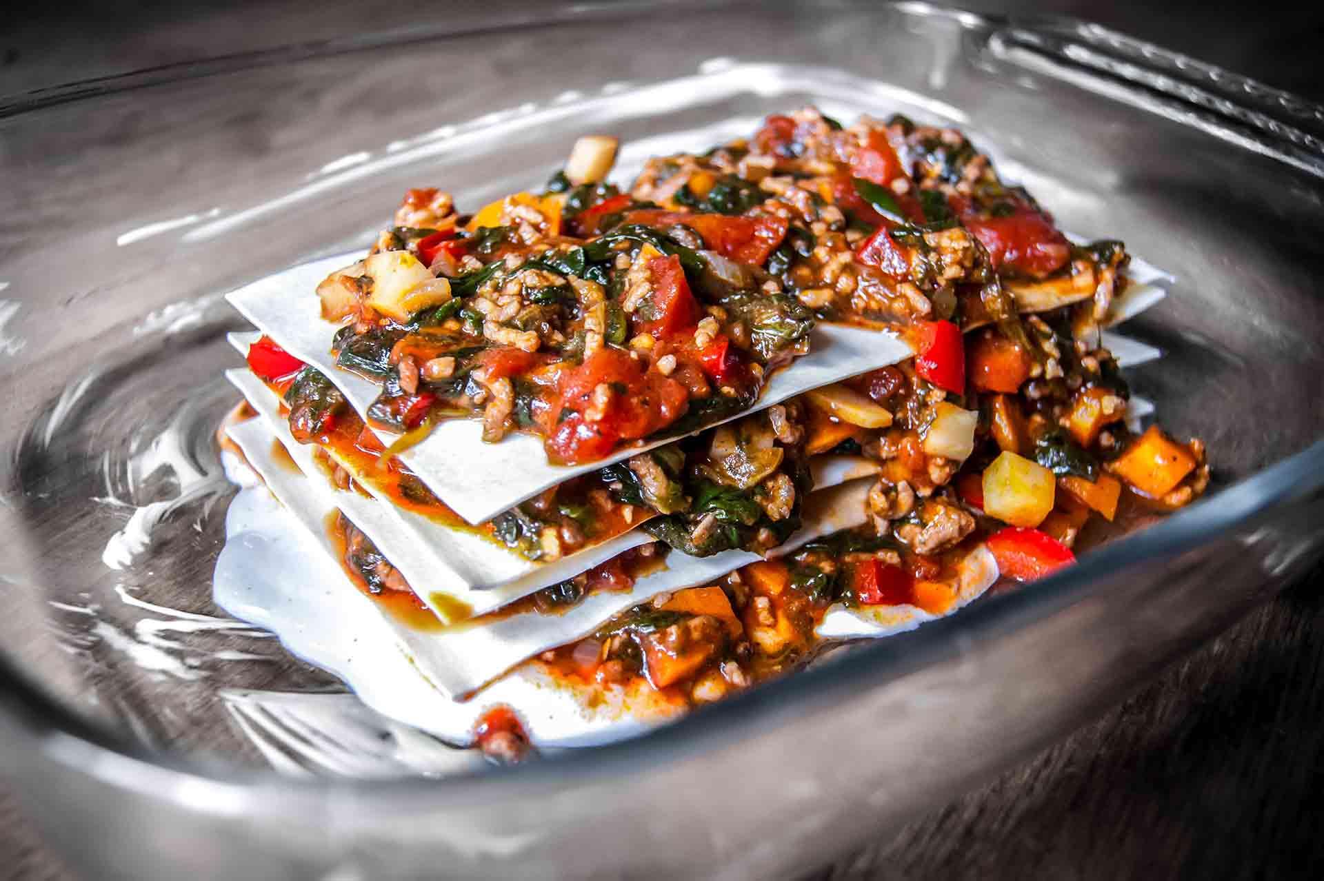 Hackfleisch Lasagne mit Spinat